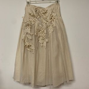 Dresses & Skirts - Cream cotton floral embroidered strapless dress